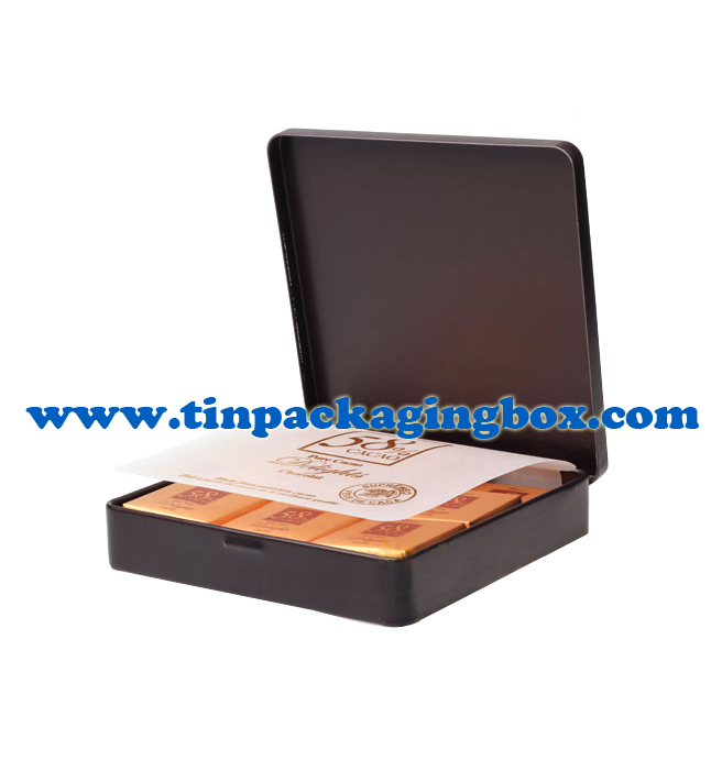 Square Shape Chocolate Tin Box With Hinges For Korea